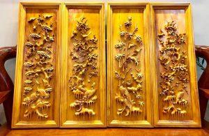 Bộ tranh gỗ Tú Quý có ý nghĩa cầu mong những điều may mắn, tốt đẹp cho gia đình