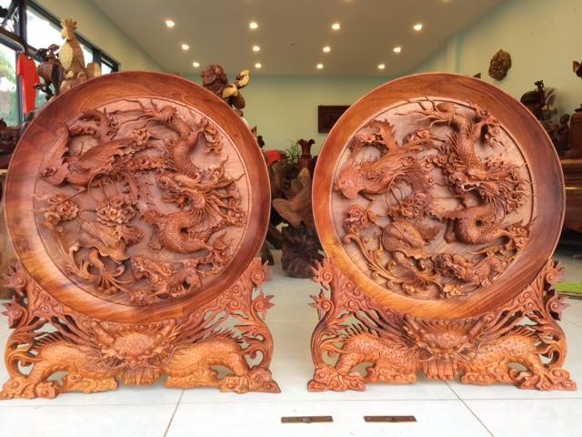 Tranh đĩa gỗ Tứ Linh