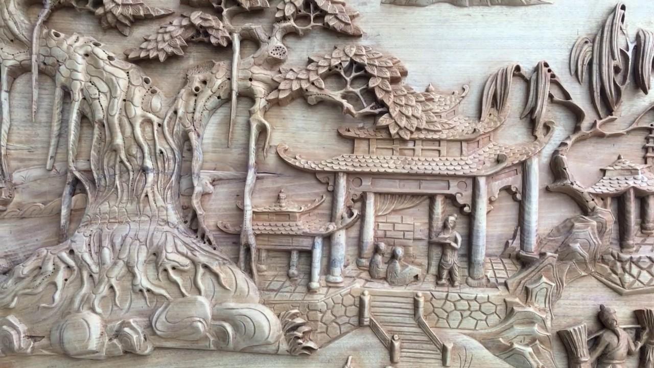 Tranh gỗ đồng quê đục tay được thổi hồn sống động