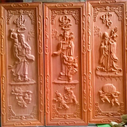 Bộ tranh Phúc-Lộc-Thọ bằng gỗ