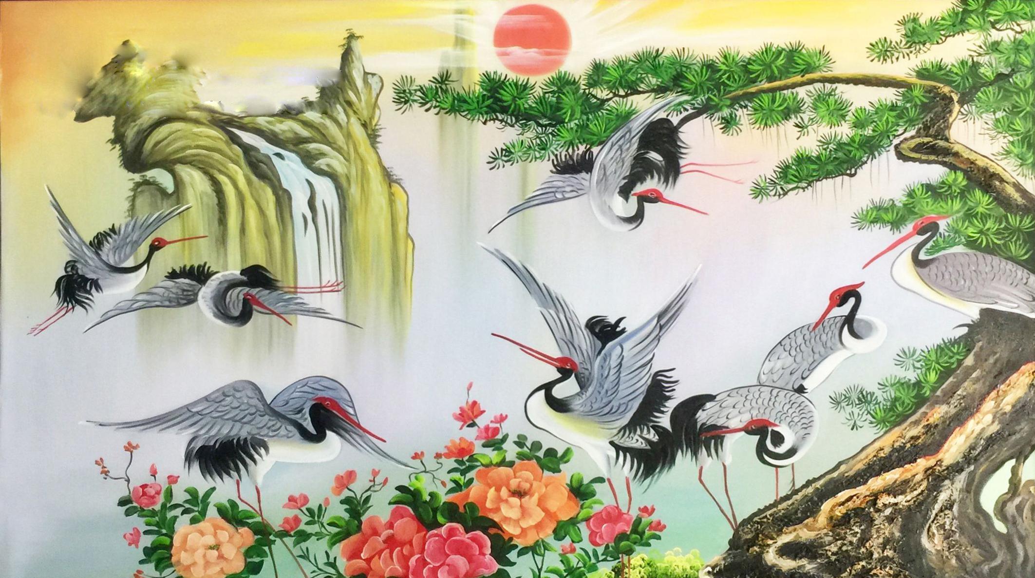 Tranh Tùng Hạc Diên Niên khắc họa hình ảnh cây Tùng-chim Hạc