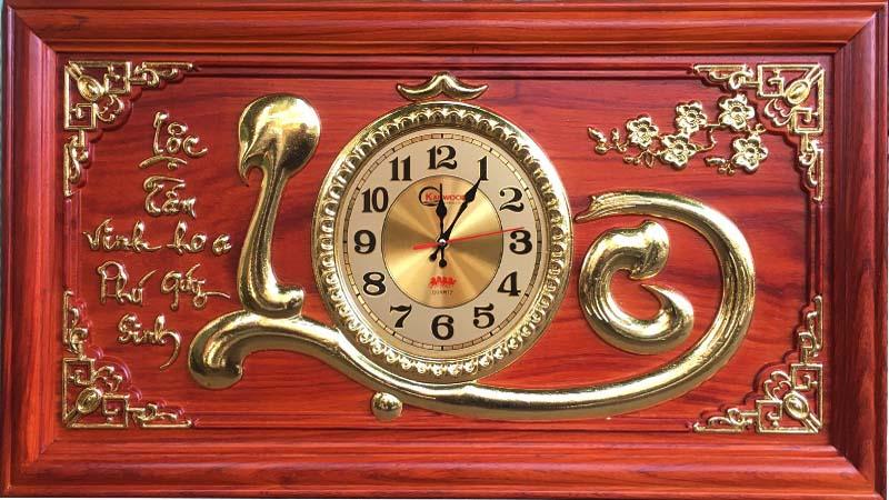 Tranh gỗ đồng hồ chữ Lộc
