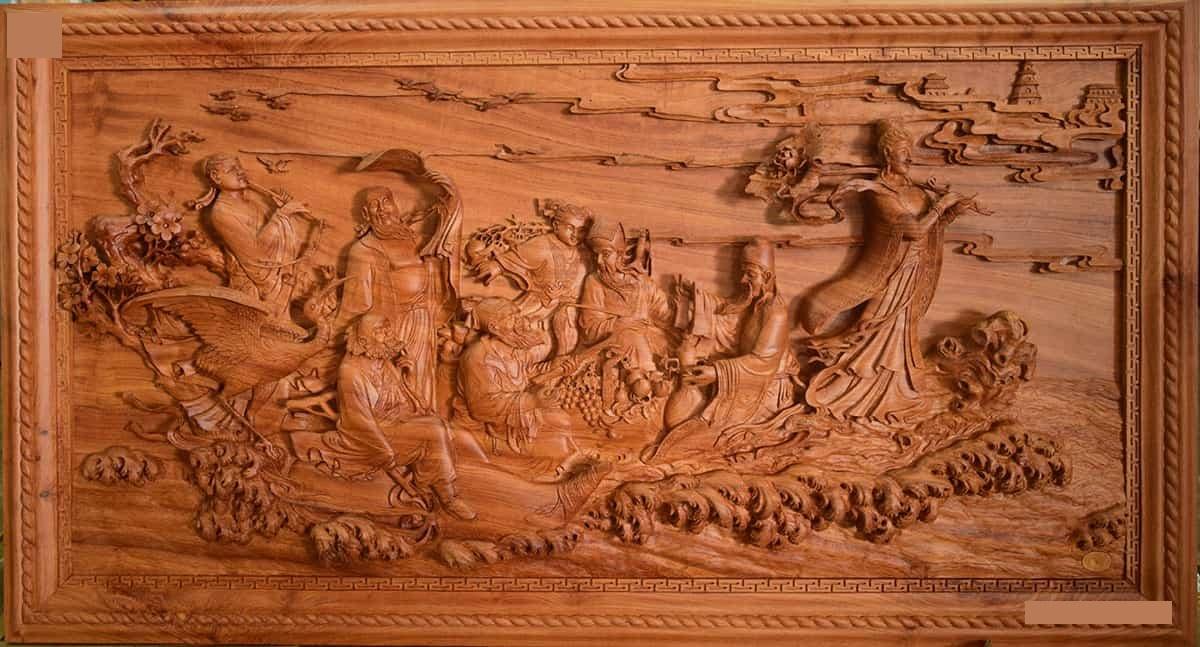 Tranh gỗ đục khắc CNC đường nét vô cùng sắc nét