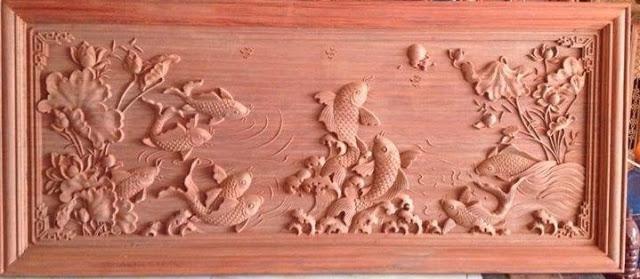 Tranh gỗ cá chép khi chưa được sơn phủ
