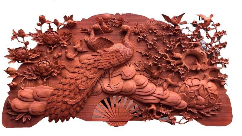 Tranh gỗ chim hạc hoa mẫu đơn