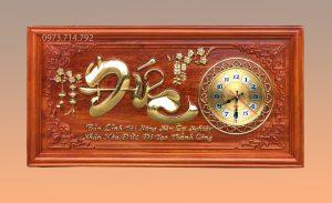 Tranh gỗ đồng hồ chữ Đức - KT48x108