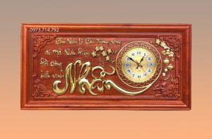 Tranh gỗ đồng hồ chữ Nhẫn - kT48x108