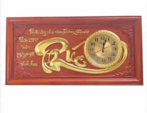 Tranh gỗ đồng hồ chữ Phúc - KT41x81