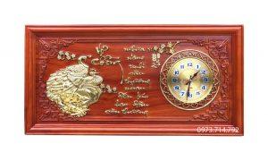 Tranh gỗ đồng hồ Phu Thê Viên Mãn - KT41x81