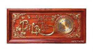 Tranh gỗ đồng hồ Tài Lộc KT48x108