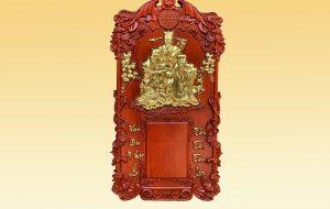 Đốc lịch gỗ Tam Đa Phúc Lộc Thọ dát vàng 40x70x3