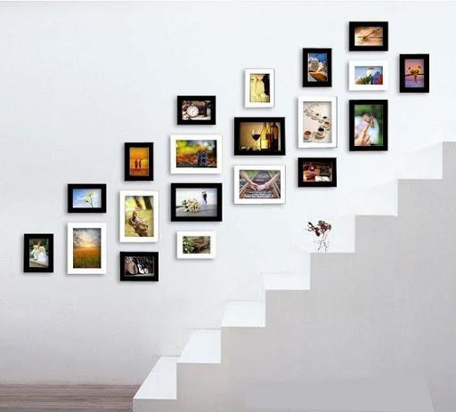 Khung ảnh treo cầu thang tại mỗi vị trí là khác nhau