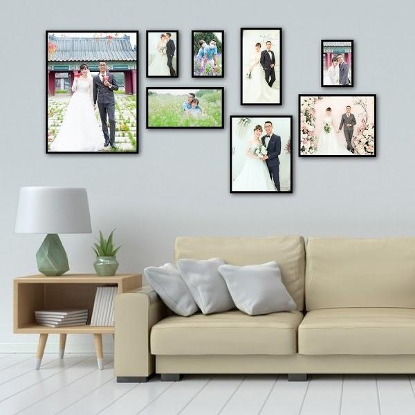 Chọn lựa kiểu dáng khung ảnh treo tường phòng khách phù hợp